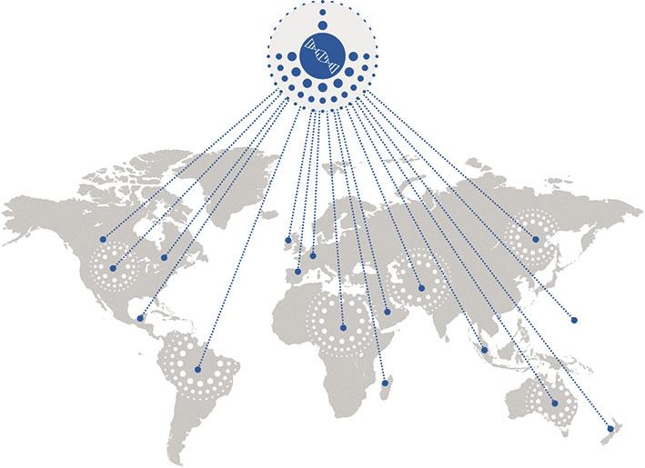 Weltkarte mit Standorten, an denen Mutationen auftreten (symbolisch)
